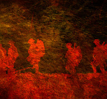 Outline Of WWI Soldiers Walking