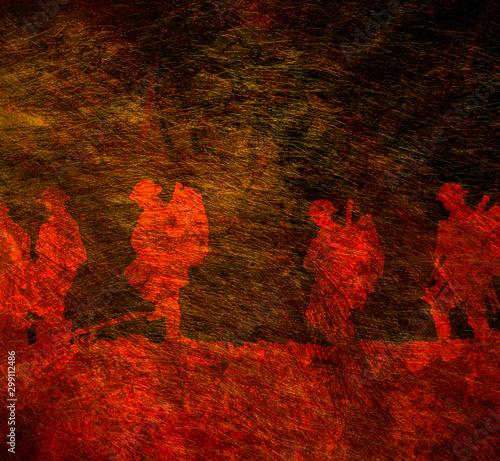 Fotografía Outline of WWI soldiers walking
