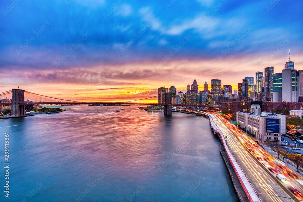 Fototapety, obrazy: View of Lower Manhattan with Brooklyn Bridge at Sunset, New York City