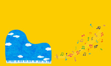 A Grand Piano Of The Blue Sky With Colorful Notes 青空のグランドピアノとカラフルな音符たち