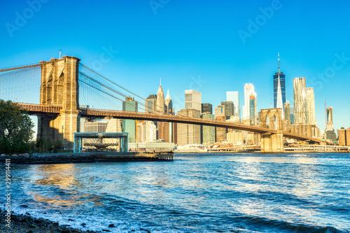 Obraz New York City Lower Manhattan with Brooklyn Bridge at Dusk, View from Brooklyn, New York - fototapety do salonu