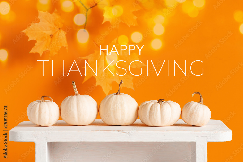 Fototapeta Happy Thanksgiving Greeting Card with white pumpkins