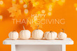 canvas print picture - Happy Thanksgiving Greeting Card with white pumpkins