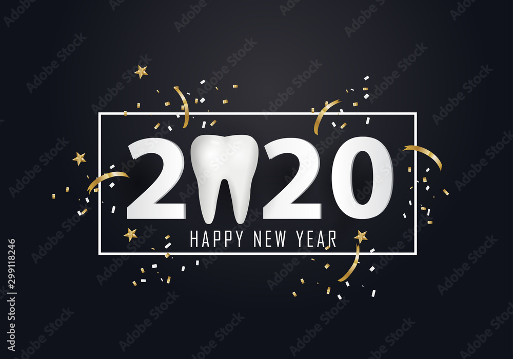 Fototapety, obrazy: 2020 with tooth sign. happy new year 2020.