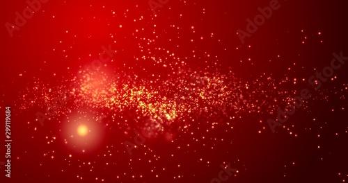 Fotografia  Golden confetti bokeh lights on the red background