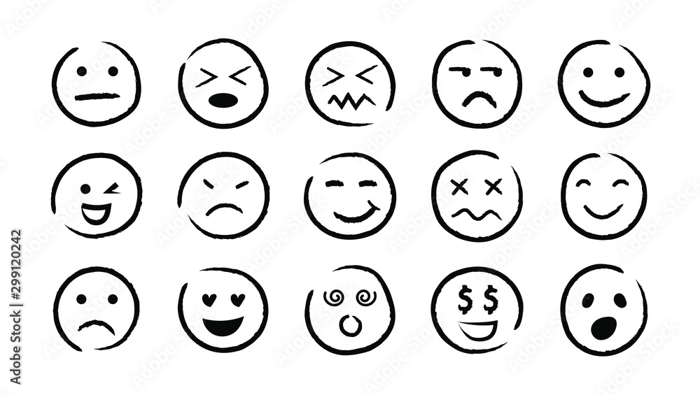 Fototapety, obrazy: Hand drawn ink emojis faces. Vector doodle emoticons sketch, ink brush icons of happy sad funny face, design template illustration