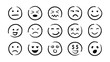 Hand drawn ink emojis faces. Vector doodle emoticons sketch, ink brush icons of happy sad funny face, design template illustration