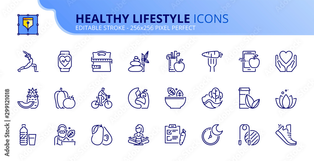 Fototapety, obrazy: Simple set of outline icons about healthy lifestyle