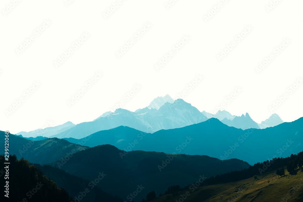 Fototapety, obrazy: Beauty blue mountains range mockup isolated