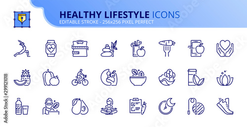 Obraz Simple set of outline icons about healthy lifestyle - fototapety do salonu