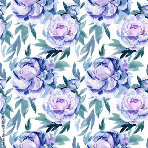 Deurstickers Kunstmatig seamless pattern of peonies, buds and leaves on an isolated white background, watercolor illustration, hand drawing, abstract flowers painting