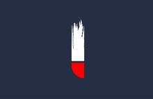 I White Red Blue Alphabet Letter With Grunge Brush Ending For Company Logo Icon Design