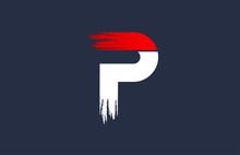P White Red Blue Alphabet Letter With Grunge Brush Ending For Company Logo Icon Design