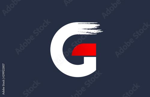 Fotomural G white red blue alphabet letter with grunge brush ending for company logo icon