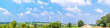Panorama Wind Turbine  Generators Line The Hilltop
