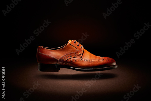 flying brown leather shoe Canvas Print