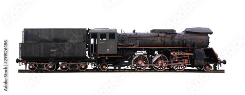 Cuadros en Lienzo  Panoramic shot of an old abandoned, rusty locomotive isolated on white backgroun