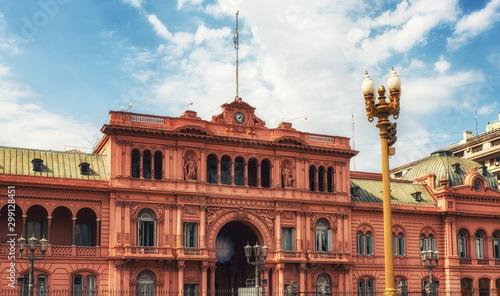 Montage in der Fensternische Buenos Aires Casa Rosada facade in Buenos aires.