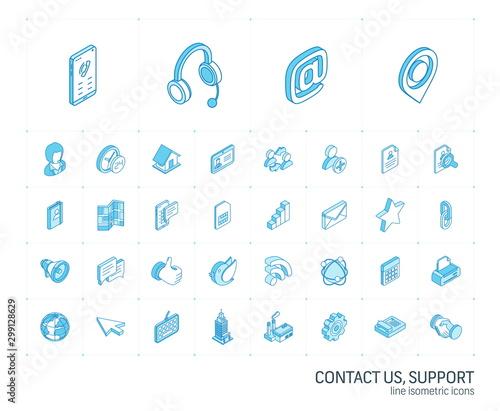 Cuadros en Lienzo Isometric line icon set