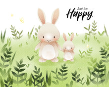 Watercolor Art Of Cartoon Cute Bunny On Grass Field