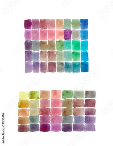 Watercolor Abstract mosaic hand drawing many square colors Wallpaper Mural