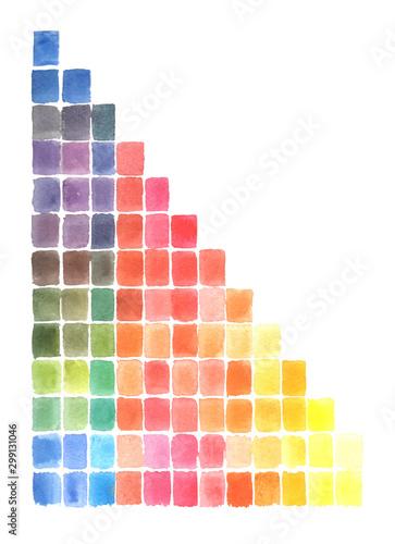 Photo  Watercolor Abstract mosaic hand drawing many square colors