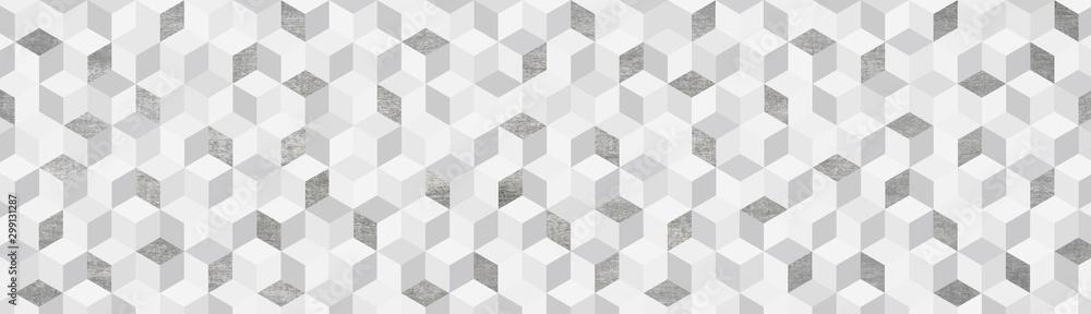 Fototapeta Background  キューブ  グレー系幾何学模様の背景イラスト