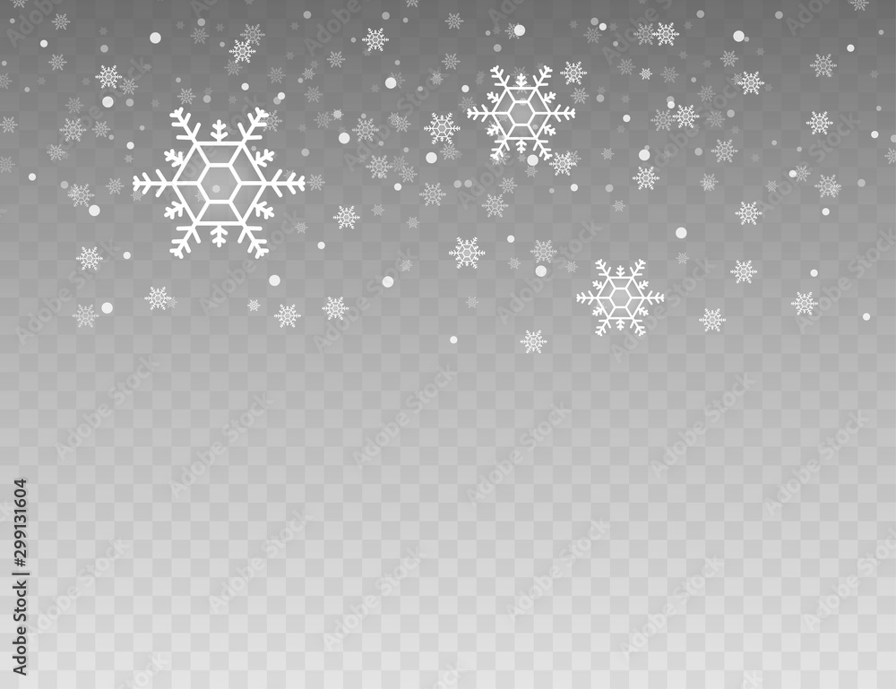 Fototapety, obrazy: Many white cold flake elements on transparent background. Heavy snowfall, snowflakes in different shapes and forms. Vector stock illustration.