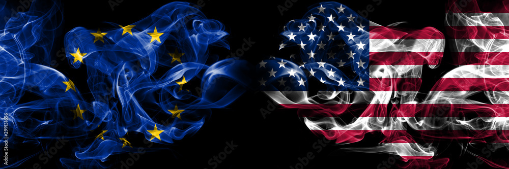 Fototapety, obrazy: Eu, European union vs United States of America, American, USA smoke flags placed side by side. Thick colored silky smokes abstract flags