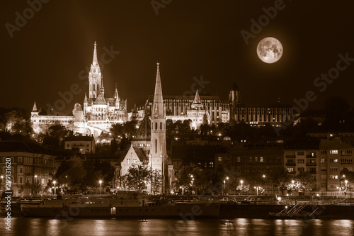 Sepia toned Night view  of Budapest