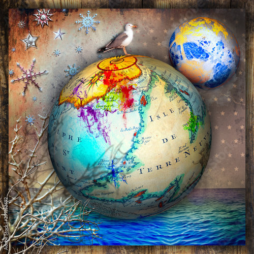Recess Fitting Imagination Earth globe with starry night over the sea. Concept of travel and imagination