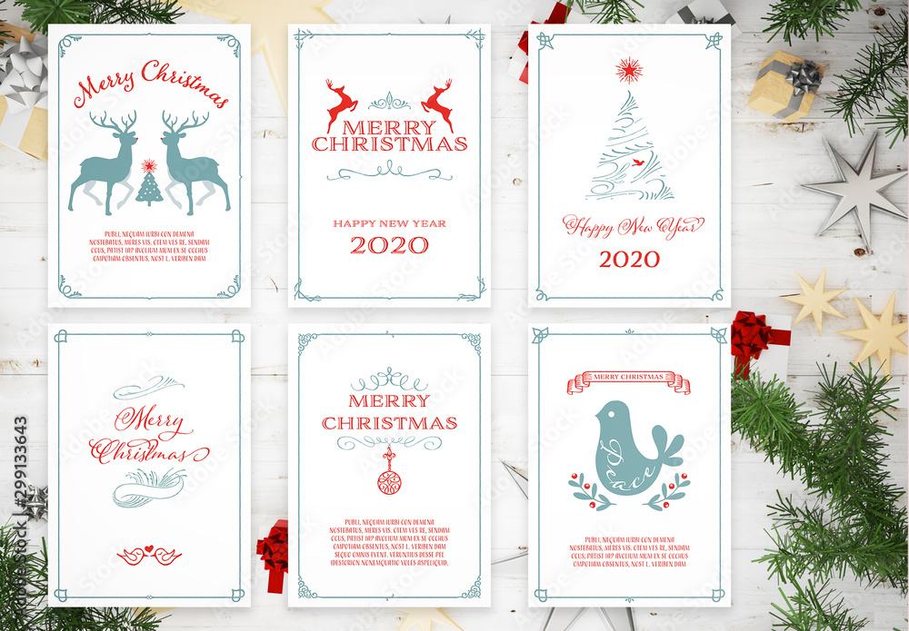 Fototapety, obrazy: Set of Framed Christmas Card Layouts