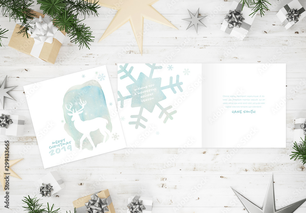 Fototapety, obrazy: Watercolor Style Christmas Card Layout with Reindeer