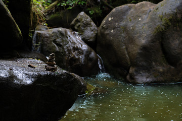 Naklejka na ściany i meble Cairns and markers at Manoa falls trail, Honolulu Hawaii