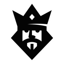 Geometric King Head Logotype. Vector Sign. Logo Design Vector Template. Logo Royal King Symbol
