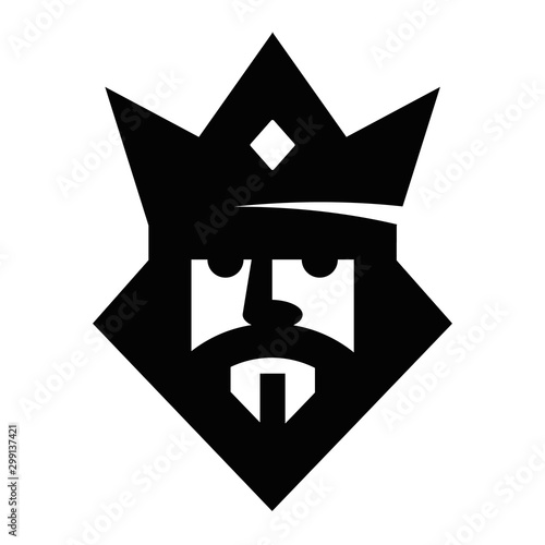 Fototapeta Geometric king head logotype