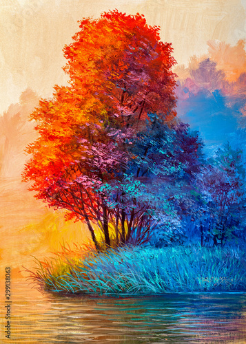 Oil painting landscape - colorful autumn forest Wall mural