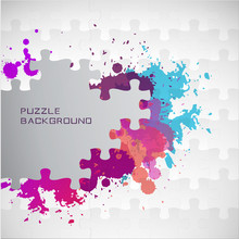 Puzzle Color Background With P...