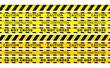Seamless security yellow black diagonal stripes. Safety danger ribbon signs.Warn Caution symbol. Under construction, do not cross. Isolated on white background.