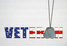 Military Dog Tags With American Flag Text On Textured Wood Background