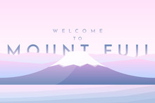Abstract Vector Flat Background. Cartoon Style. Mount Fuji Near The Water. Template For Website Or Game. Minimalistic Design. Clear Sky With Copy Space For Text. Pink Color Banner. Volcano