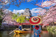 canvas print picture - Asian woman wearing japanese traditional kimono looking at cherry blossoms and castle in Himeji, Japan.