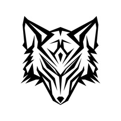 Abstract head wolf icon with color black on the white background