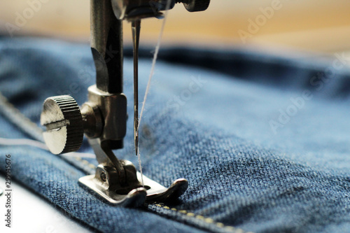 Sewing machine and denim, tailoring Fototapet
