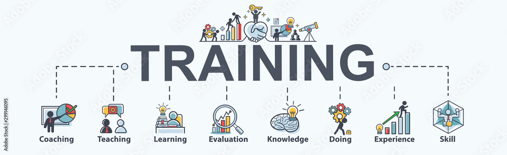Fototapeta Training banner web icon for business and Seminar, coach, teaching, learn, evaluation, knowledge, doing, experience and skill. Minimal vector infographic.