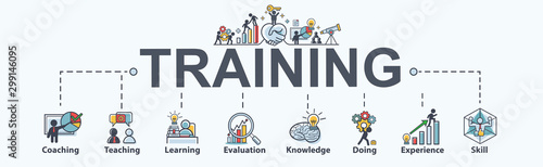Fotografía Training banner web icon for business and Seminar, coach, teaching, learn, evaluation, knowledge, doing, experience and skill