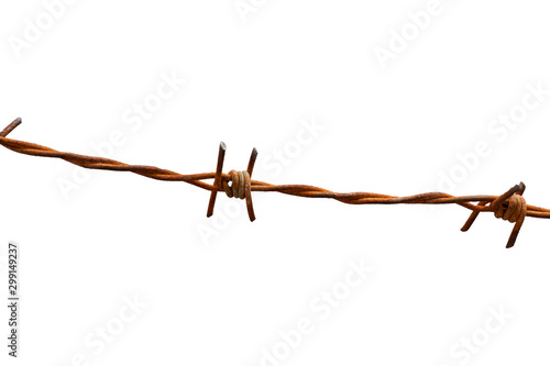 Fotografija  Rusty barbed wire fence on white background with clipping path