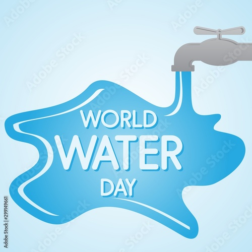 Fotografia  World Water Day letter on the water background