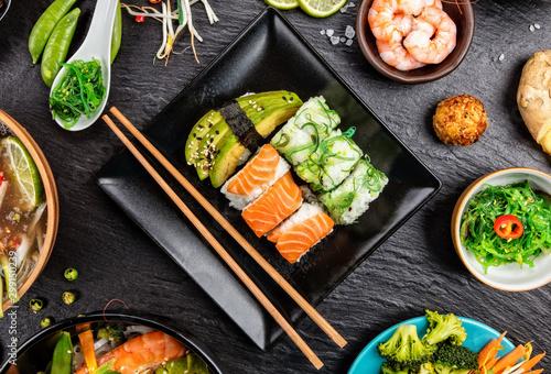 Fototapeta Asian Sushi variation with many kinds of meals. obraz