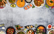 Leinwandbild Motiv Top view composition of various Asian food in bowls